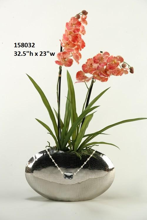 Creamred Vanda Orchids In Short Silver Vase Boulevard Urban Living