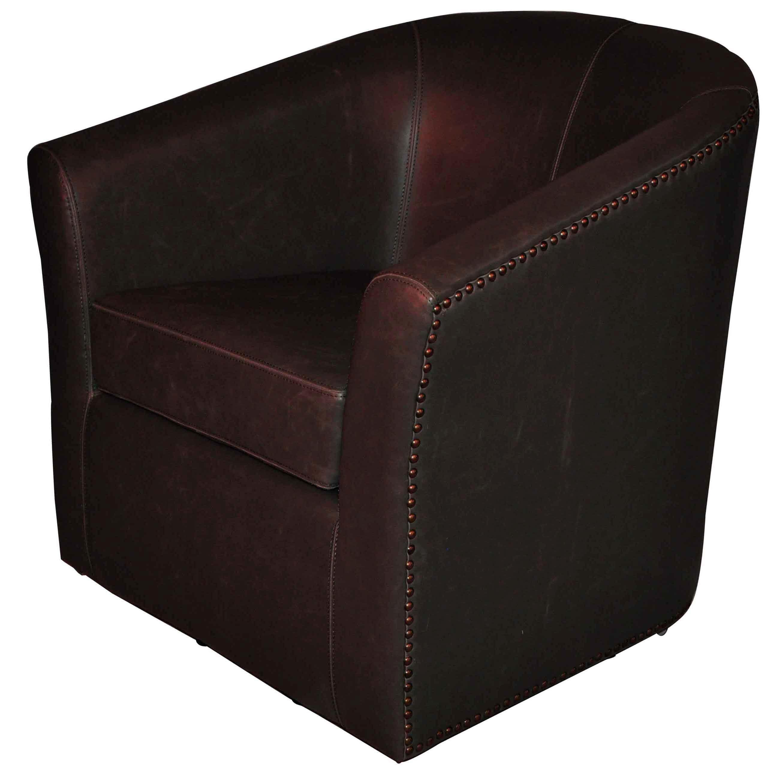 Ernest Bonded Leather Swivel Chair Vintage Dark Brown