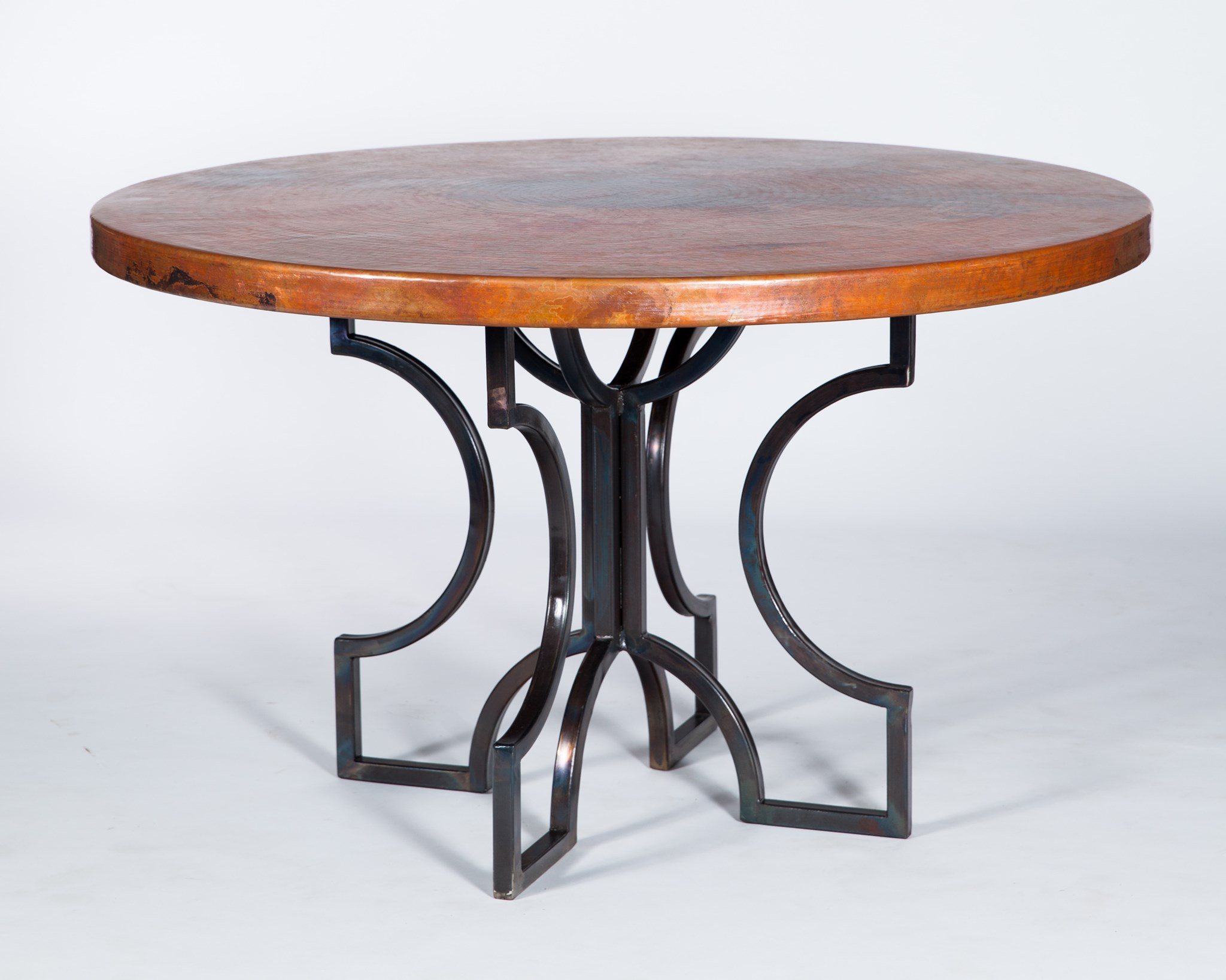 Arturo Dining Table With 48 Quot Round Hammered Copper Top