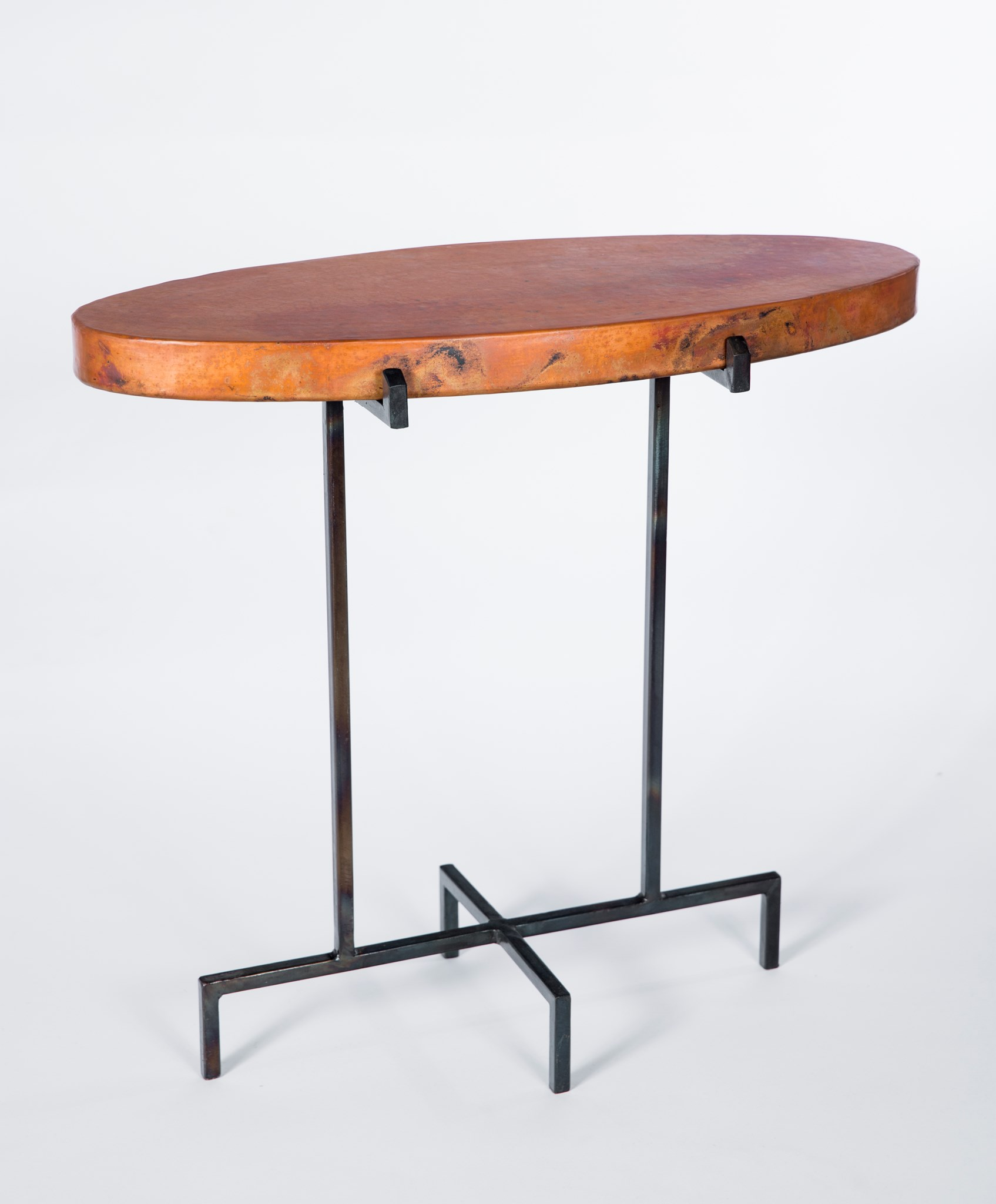 - Oval Accent Table With Hammered Copper Top - Boulevard Urban Living