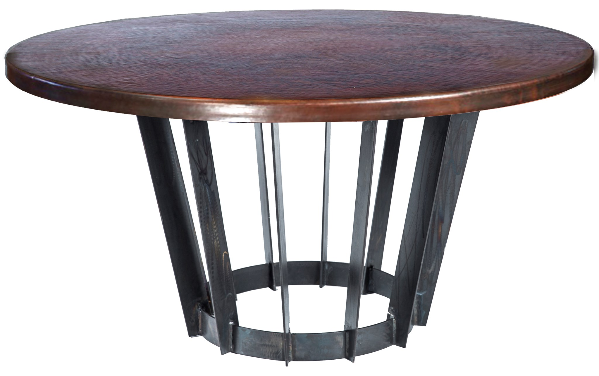 Dexter Dining Table With Round Dark Brown Hammered Copper Top - Hammered copper round dining table