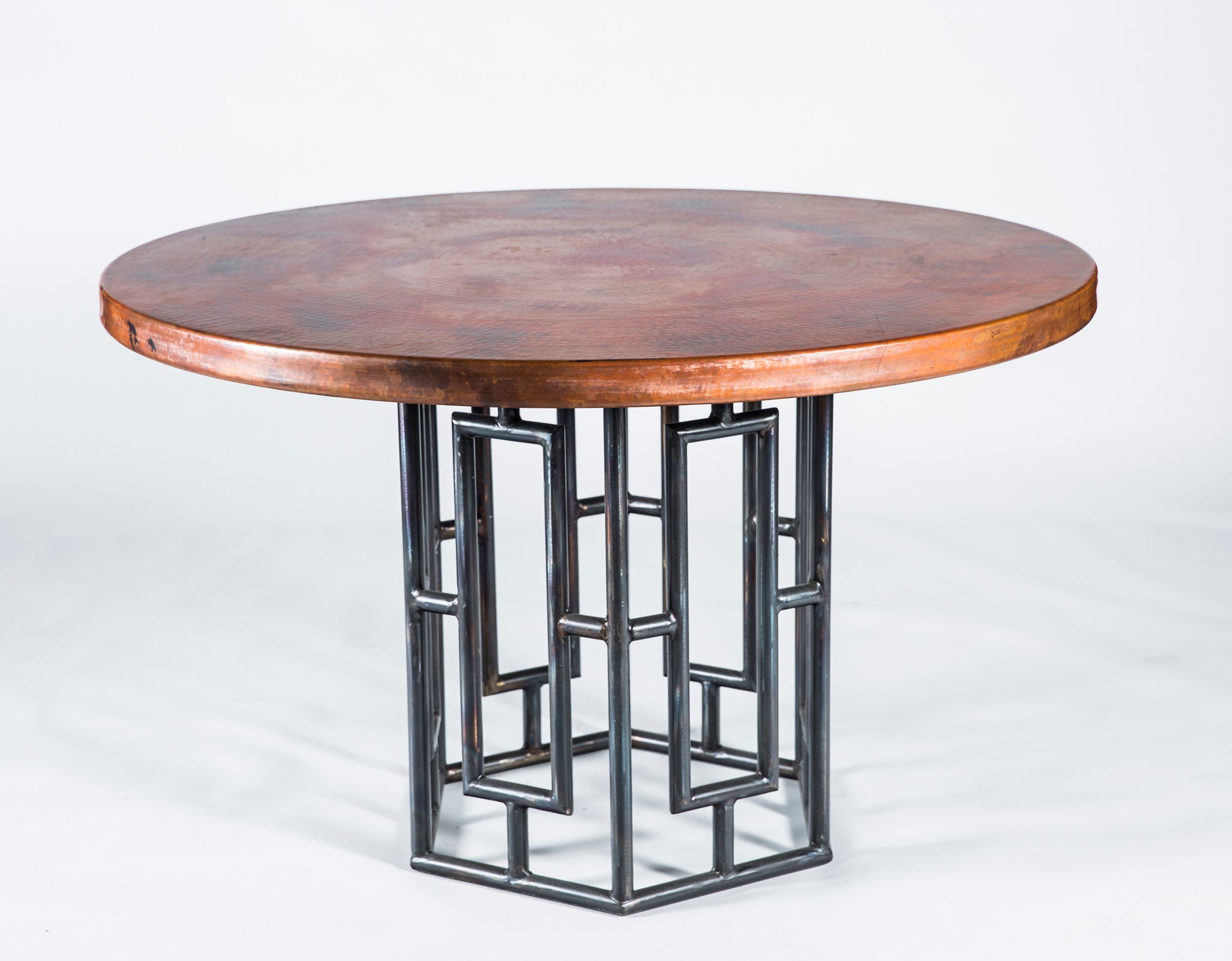 Hudson dining table with 48 round natural hammered copper top hudson dining table with 48 round natural hammered copper top boulevard urban living watchthetrailerfo