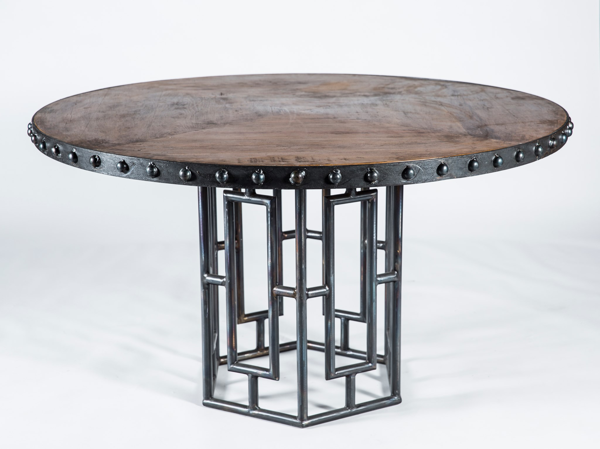 Hudson Dining Table With 48 Round Wood Top With Iron Nail Head Edge    Boulevard Urban Living