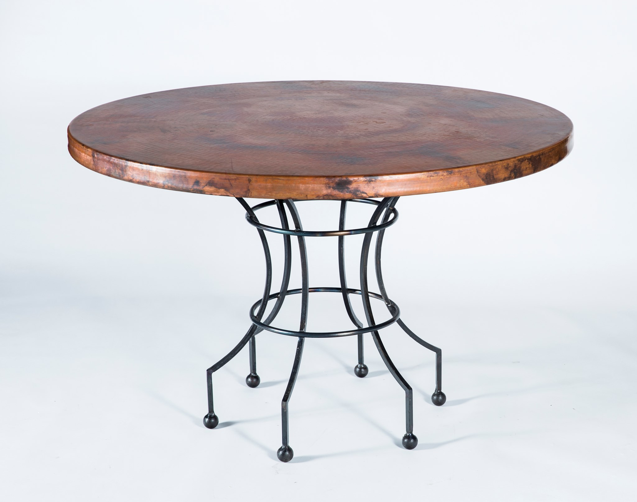 Dominic Dining Table with 48 Natural Hammered Copper Top