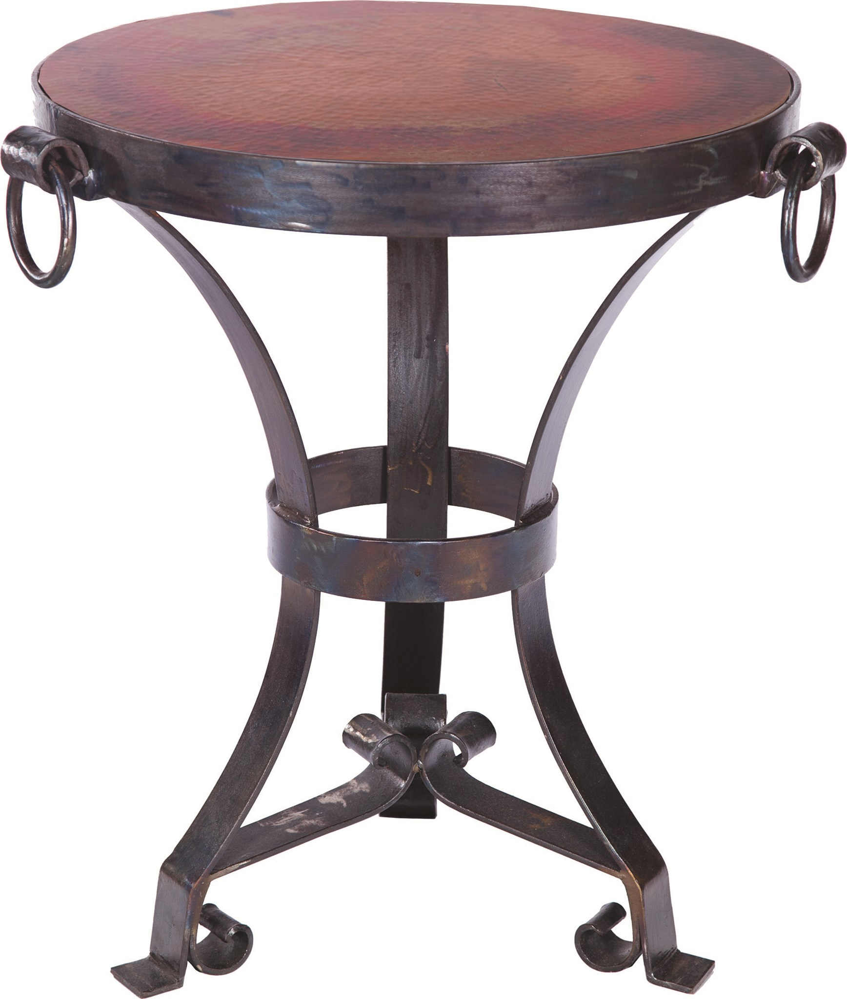 Accent Table With Hardware Rings And Round Hammered Copper Top - Copper top accent table