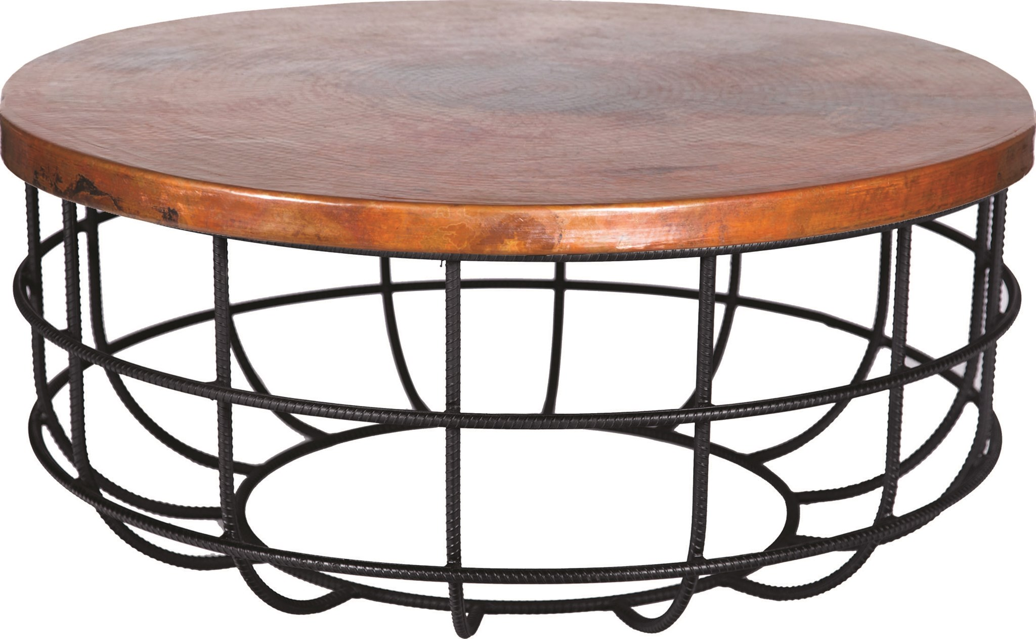 - Axel Coffee Table In Rebar With Round Hammered Copper Top