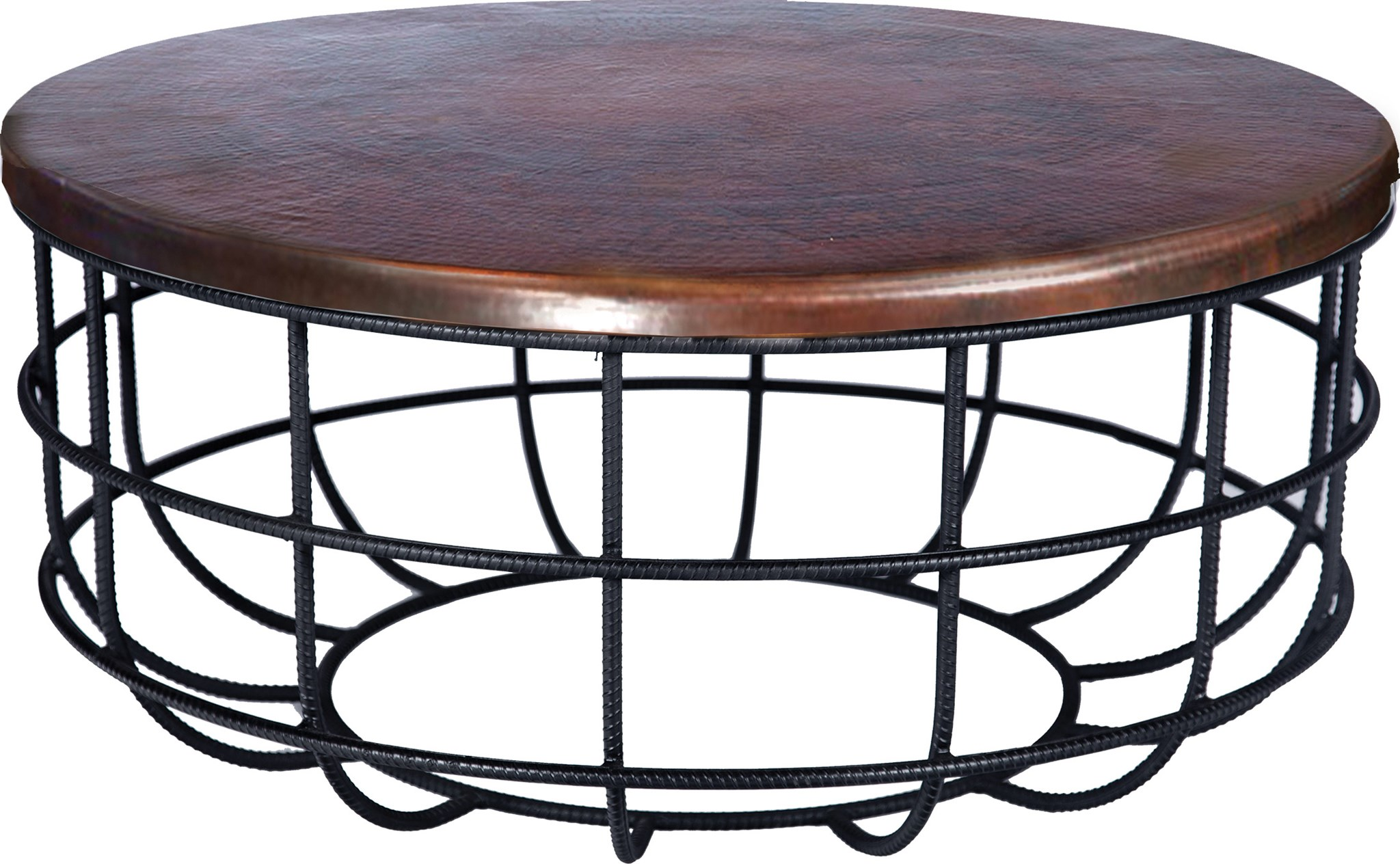 Fine Axel Coffee Table In Rebar With Round Dark Brown Hammered Copper Top Gamerscity Chair Design For Home Gamerscityorg