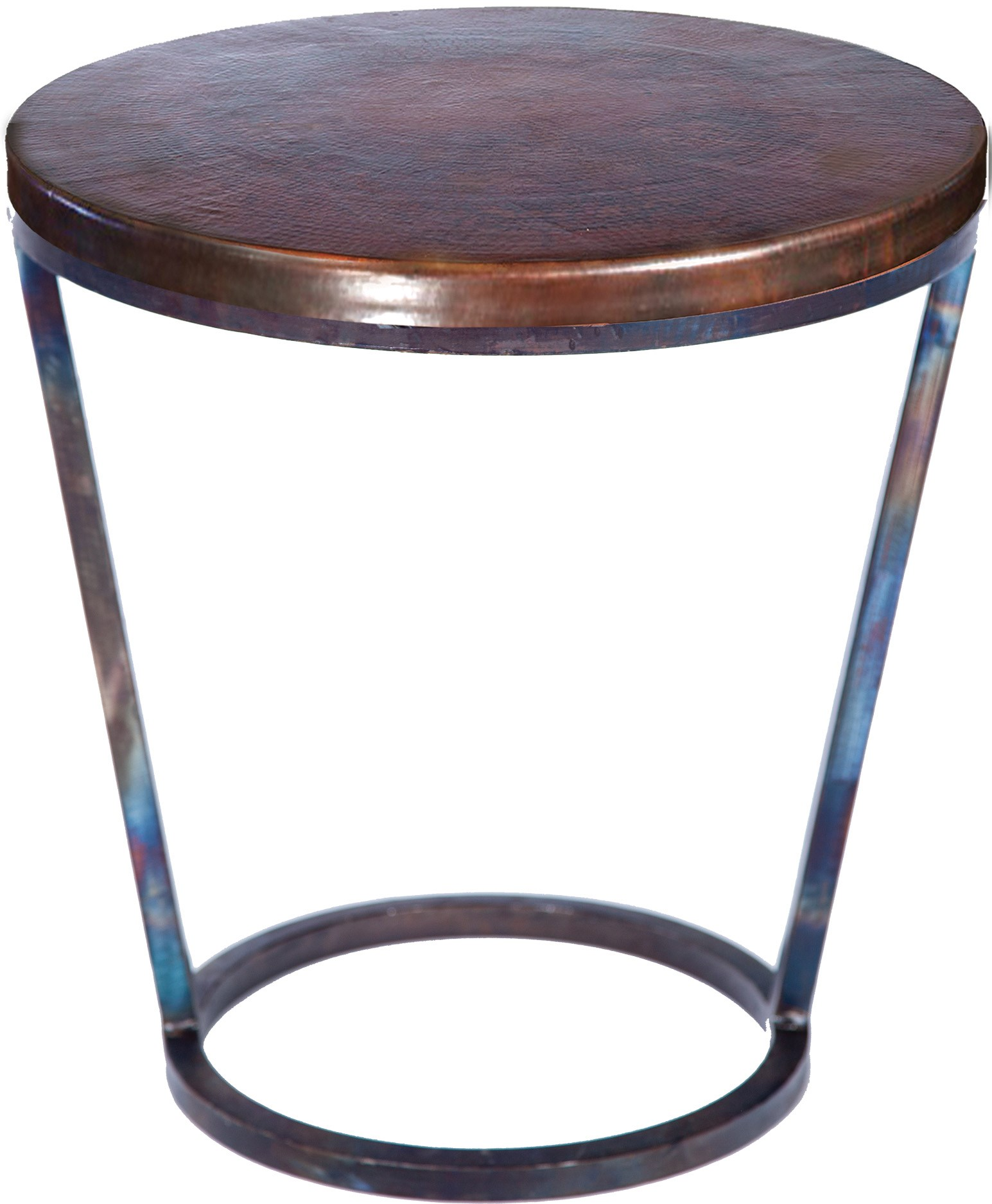 Accent Table With Dark Brown Hammered Copper Top Boulevard Urban - Copper top accent table