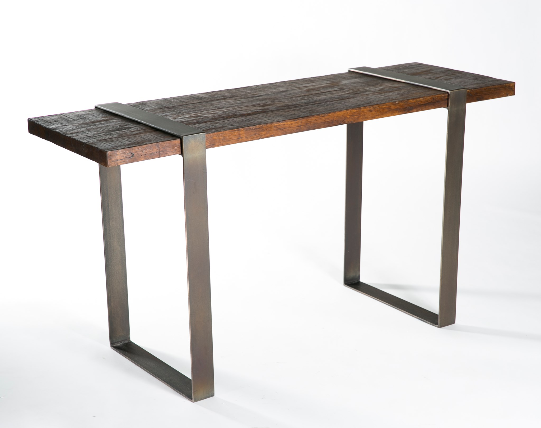 Jackson Console Table With Steel Strap Legs And Reclaimed Wood Top