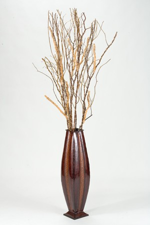 7 Dried Branches In Tall Metal Floor Vase Boulevard Urban Living