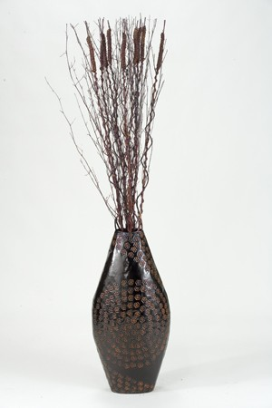65 Dried Branches And Willow In Tall Metal Floor Vase Boulevard