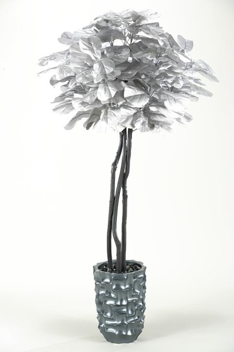 Silver Fiddle Leaf Fig Tree In Tall Contemporary Grey Resin Vase