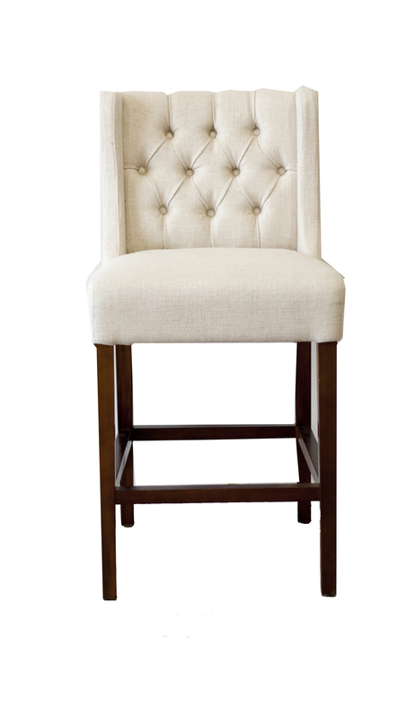 Lauren Tufted Counter Stool White Russian Fabric