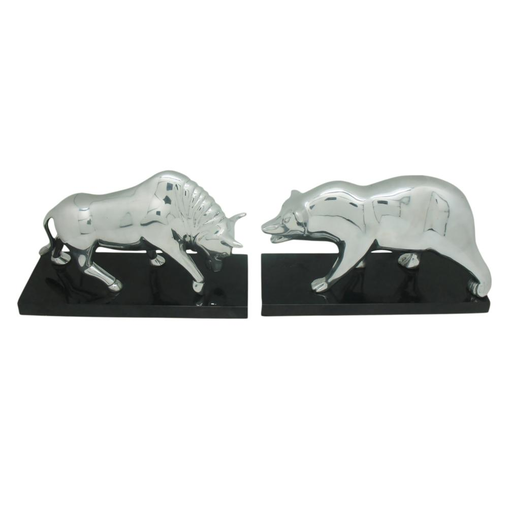 Bear U0026 Bull Bookends Silver Set