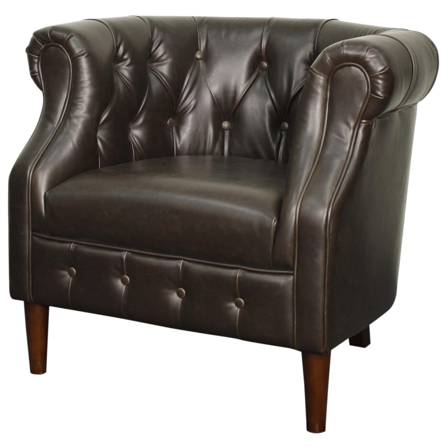 Amazing Luna Bonded Leather Tufted Tub Chair Brown Legs Vintage Dark Brown Creativecarmelina Interior Chair Design Creativecarmelinacom
