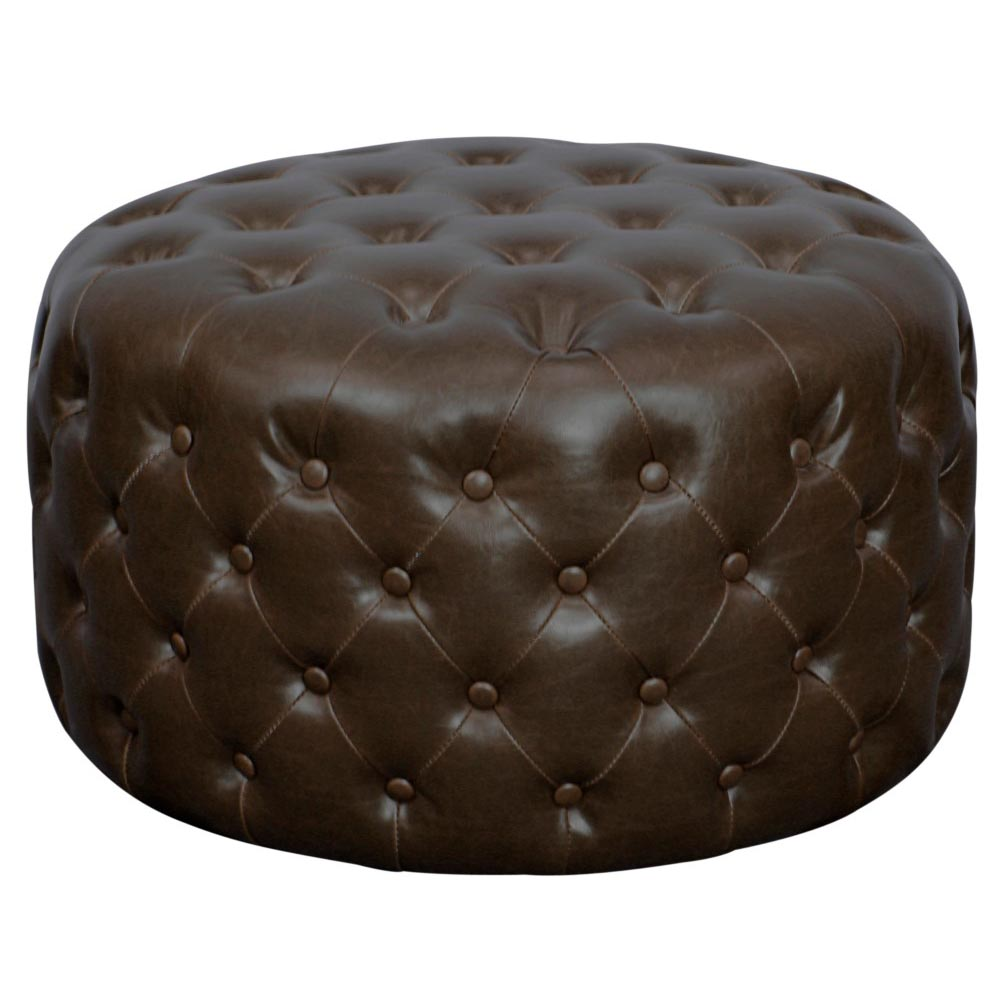 Pleasant Lulu Round Bonded Leather Tufted Ottoman Vintage Dark Brown Caraccident5 Cool Chair Designs And Ideas Caraccident5Info