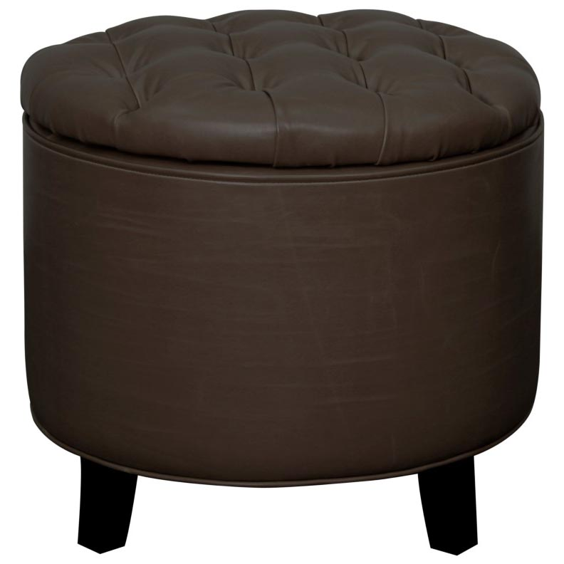 Remarkable Avery Bonded Leather Tufted Round Storage Ottoman Vintage Dark Brown Caraccident5 Cool Chair Designs And Ideas Caraccident5Info