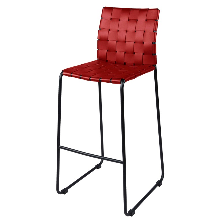 Astounding Fitz Recycled Leather Bar Stool Black Metal Legs Red Cjindustries Chair Design For Home Cjindustriesco