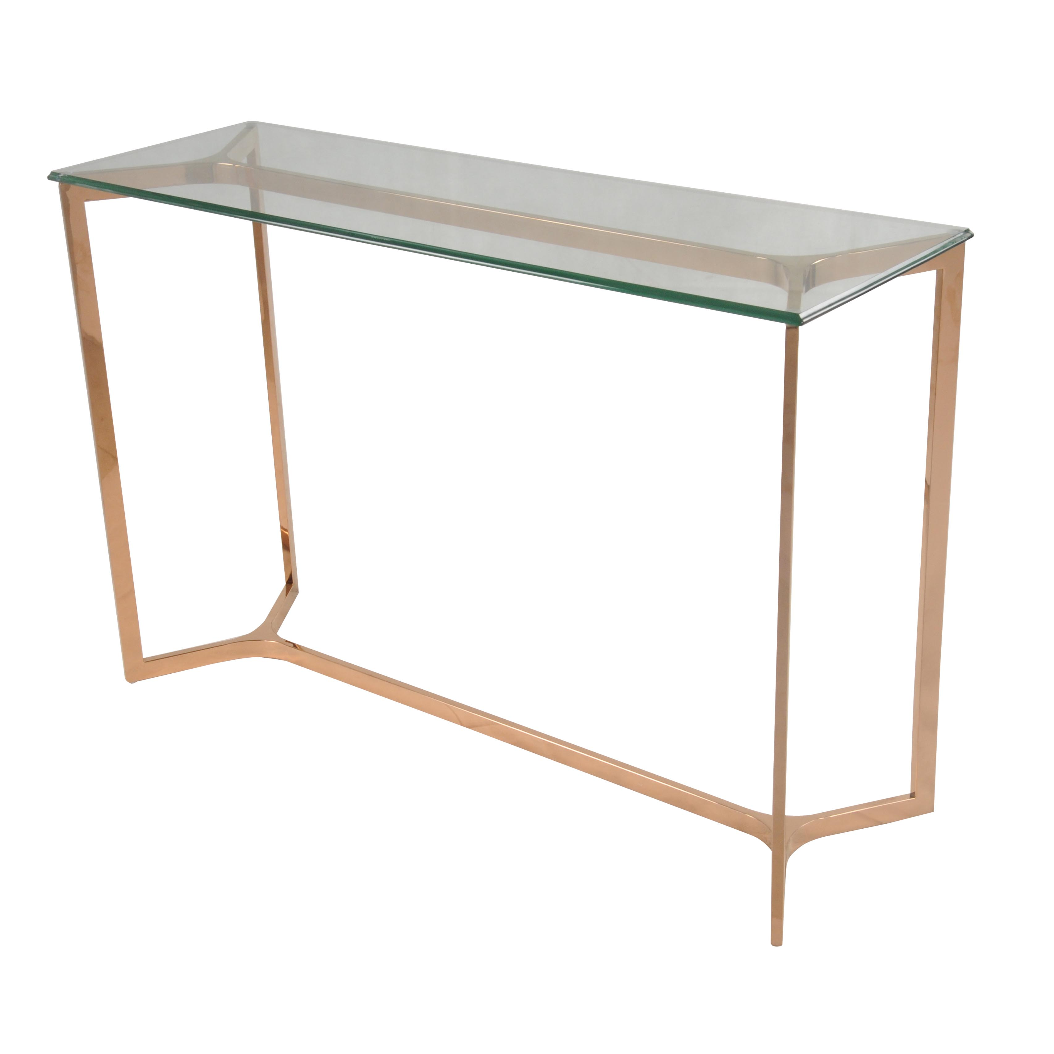 Picture of: Monza Console Table Glass Top Rose Gold Boulevard Urban Living