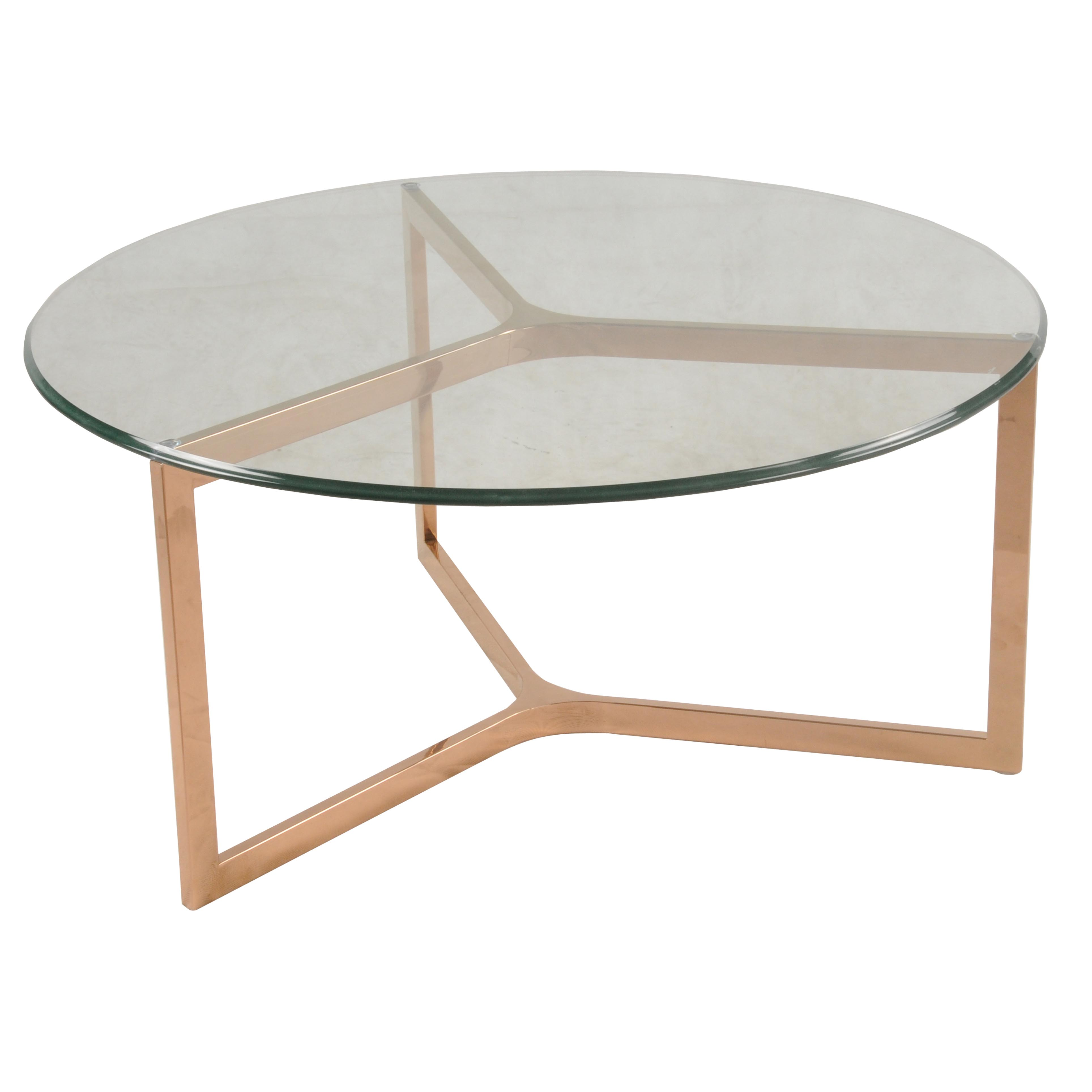 - Monza Round Coffee Table Glass Top, Rose Gold - Boulevard Urban Living