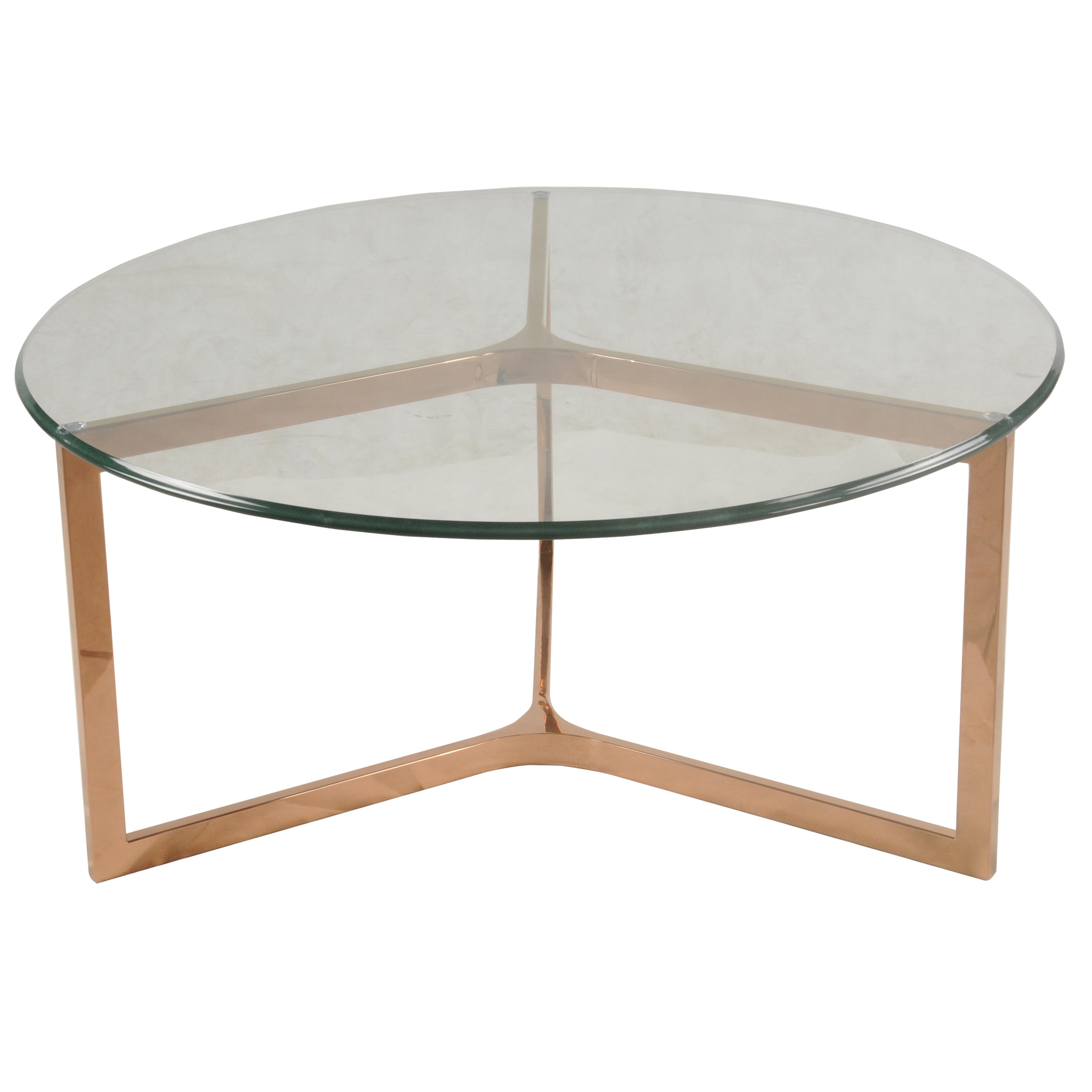 Monza round coffee table glass top rose gold boulevard for Rose gold round coffee table