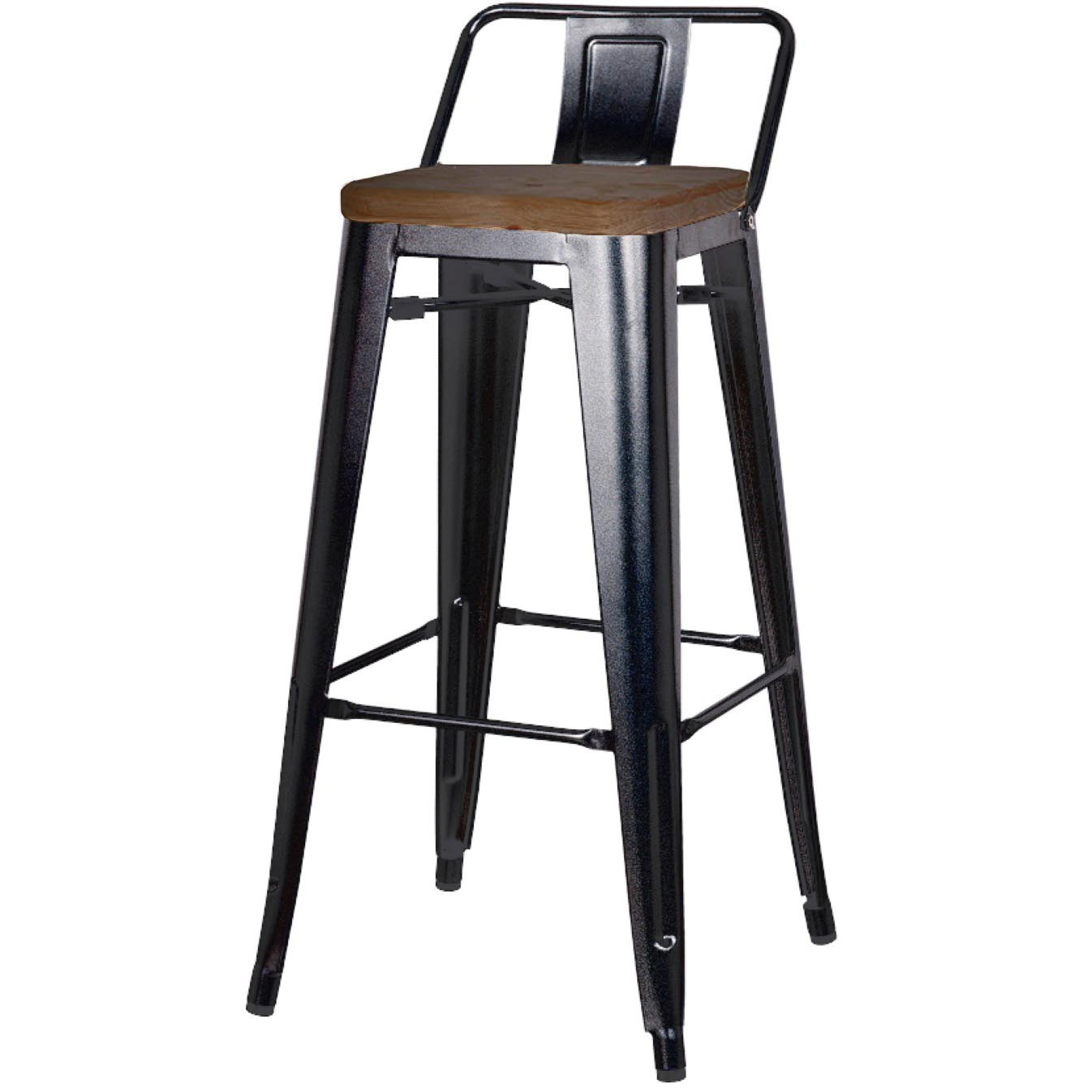 Metropolis Low Back Counter Stool Wood Seat Black