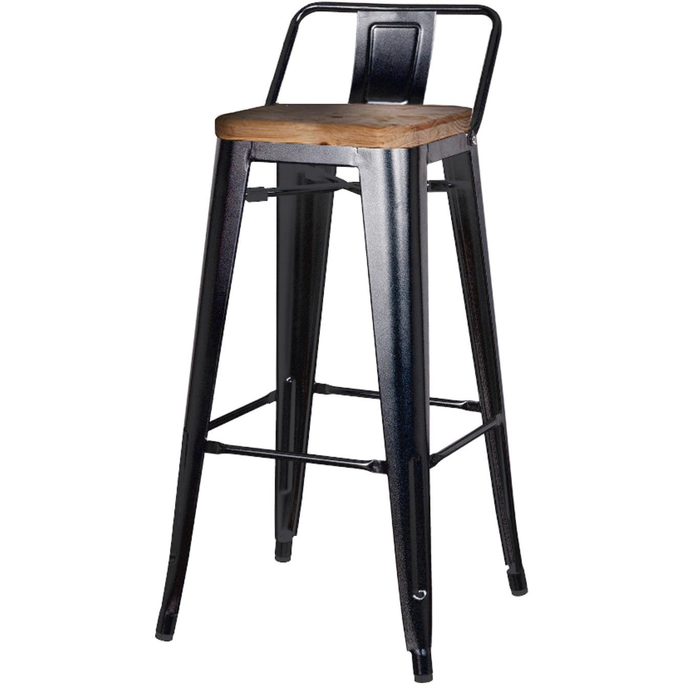 Metropolis Low Back Bar Stool Wood Seat Black Boulevard Urban Living