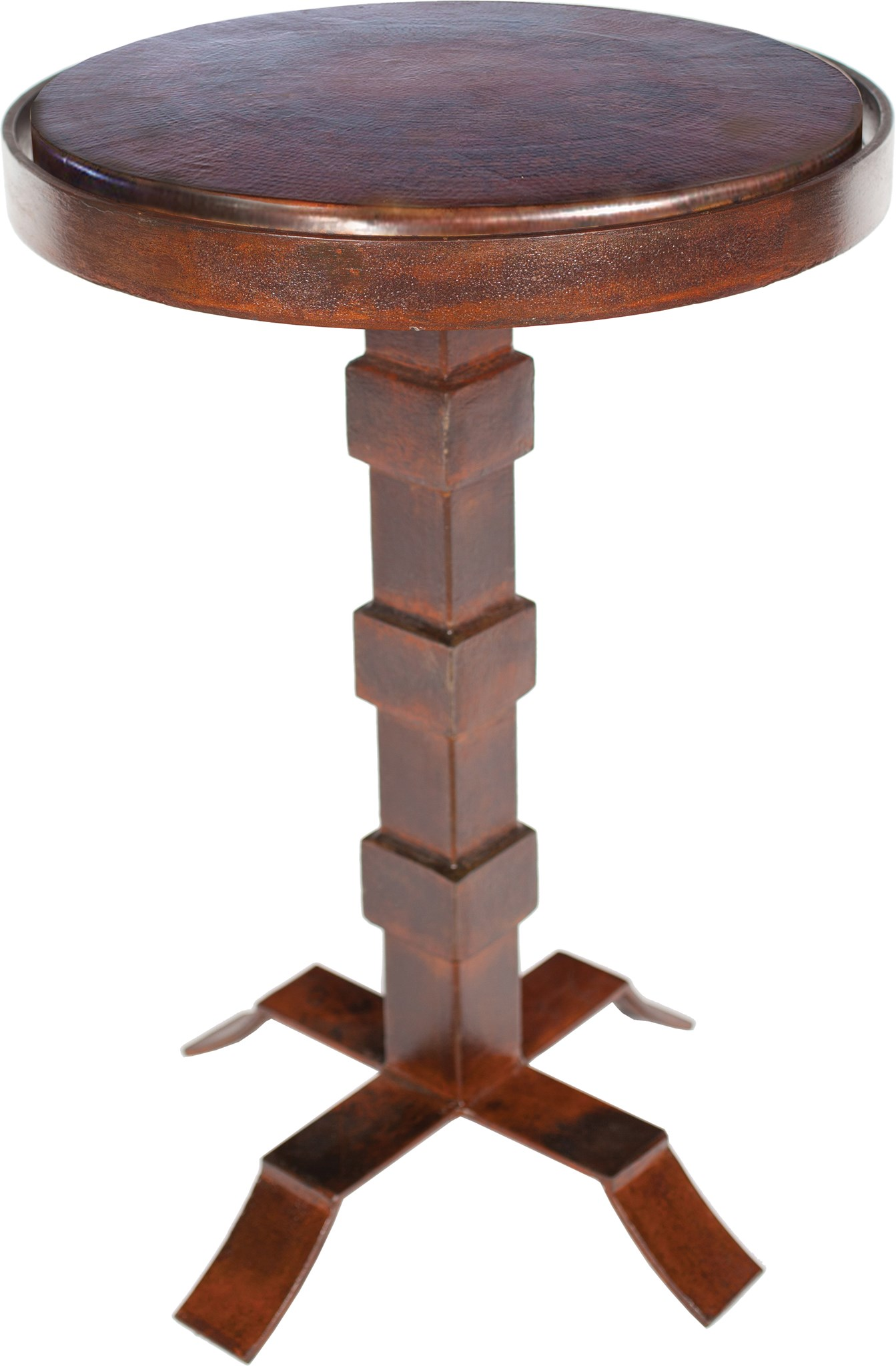 Round Iron Accent Table With Dark Brown Hammered Copper