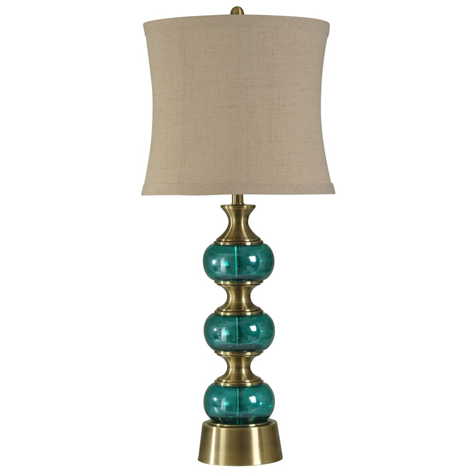 Brass And Teal Glass Table Lamp Natural Linen Shade