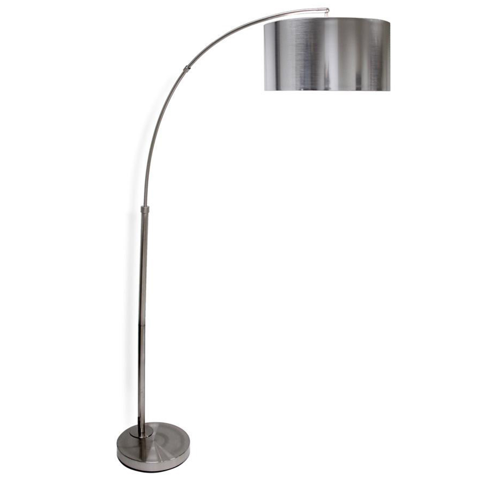 Brushed steel arc floor lamp solid stainless steel shade boulevard urban living