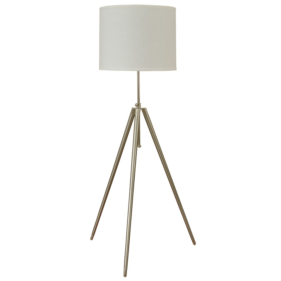 Brushed steel floor lamp boulevard urban living brushed steel floor lamp with white fabric drum shade aloadofball Image collections