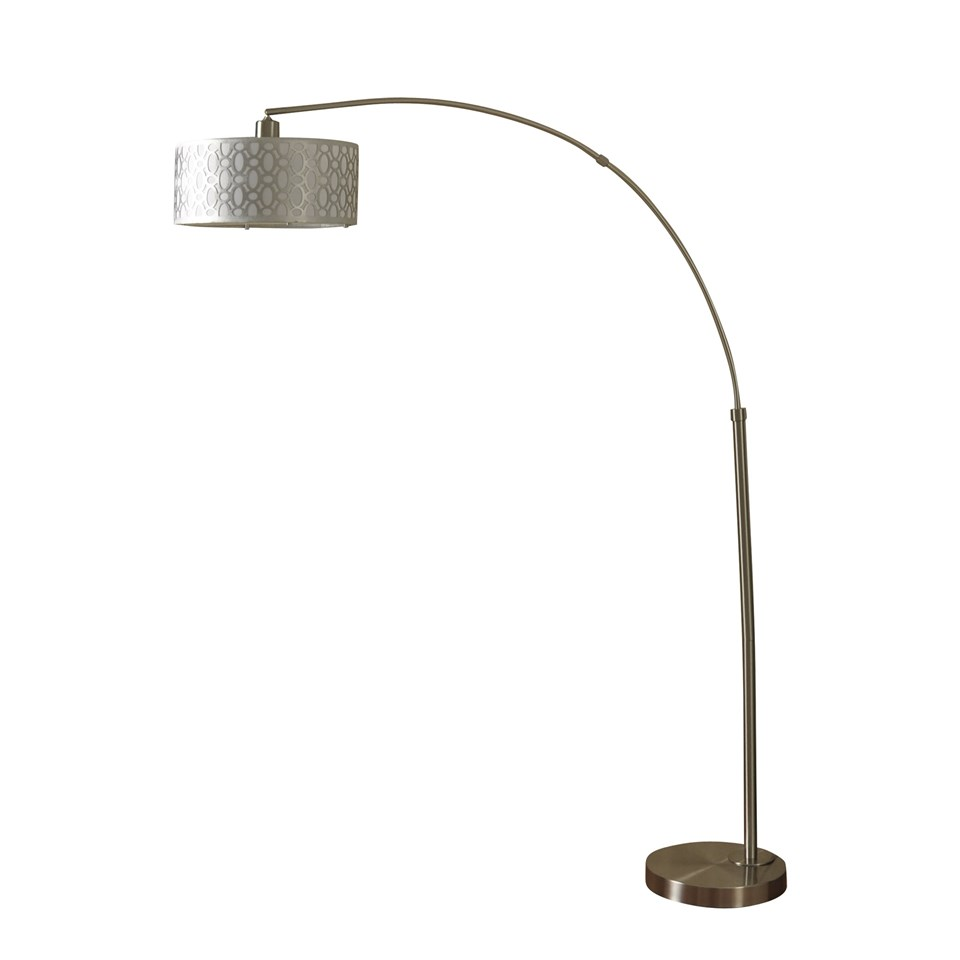 Brushed steel one arm arch floor lamp boulevard urban living brushed steel one arm arch floor lamp with metal cage over white fabric shade mozeypictures Choice Image