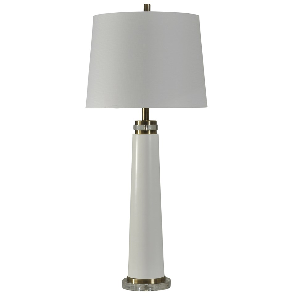 Brushed steel and acrylic table lamp boulevard urban living brushed steel and acrylic table lamp with white drum shade2 aloadofball Image collections
