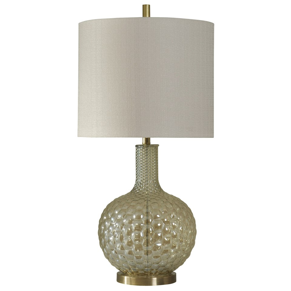 Bubble glass table lamp gold base white fabric drum shade bubble glass table lamp gold base white fabric drum shade aloadofball Images