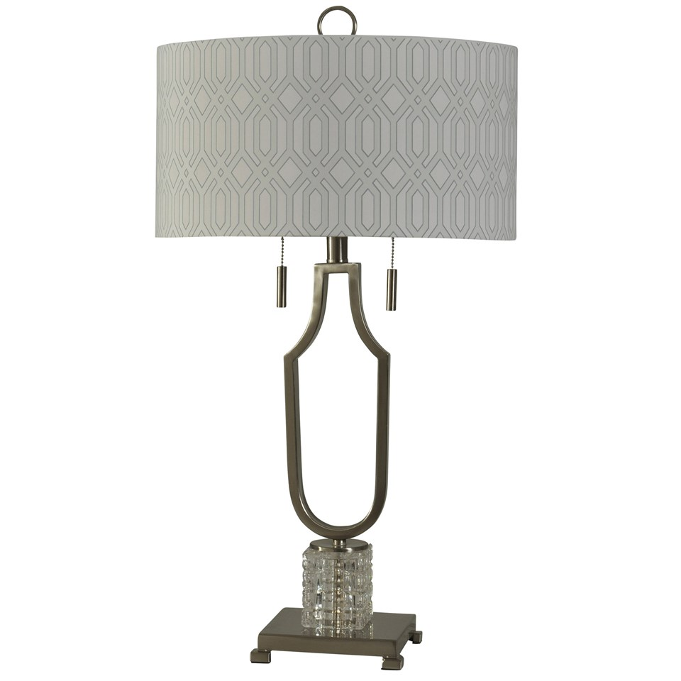 Cut Glass And Brushed Steel Table Lamp Double Chain Pull Designer Fabric  Shade