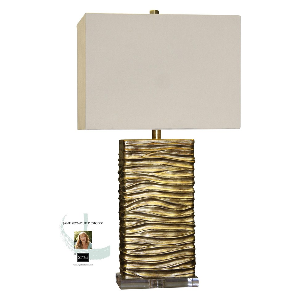 Jane seymour a clear base supports this creative table lamp jane seymour a clear base supports this creative table lamp with a finish of interwoven aloadofball Image collections