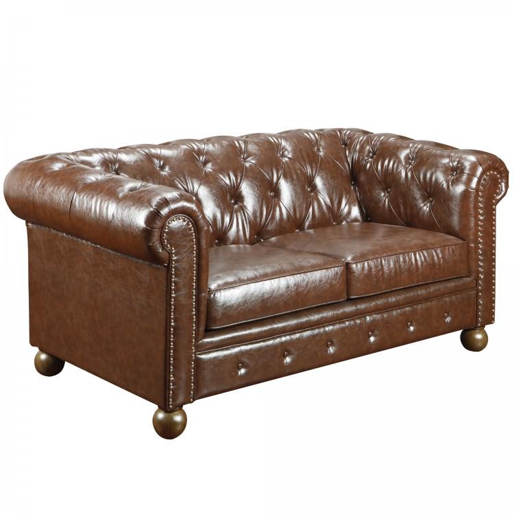 Groovy Winston Vintage Mocha Bonded Leather Loveseat Boulevard Bralicious Painted Fabric Chair Ideas Braliciousco