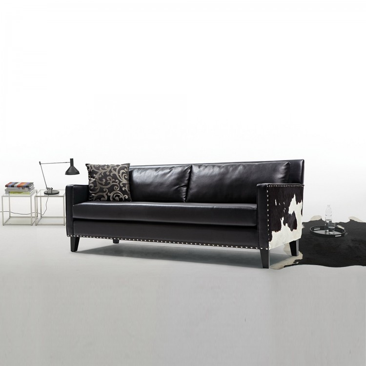 Dallas Sofa In Black Leather and Real Cowhide Side Panels ...