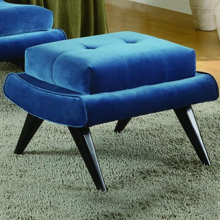 Phenomenal 5Th Avenue Velvet Ottoman In Cerulean Blue With Ebony Wood Spiritservingveterans Wood Chair Design Ideas Spiritservingveteransorg