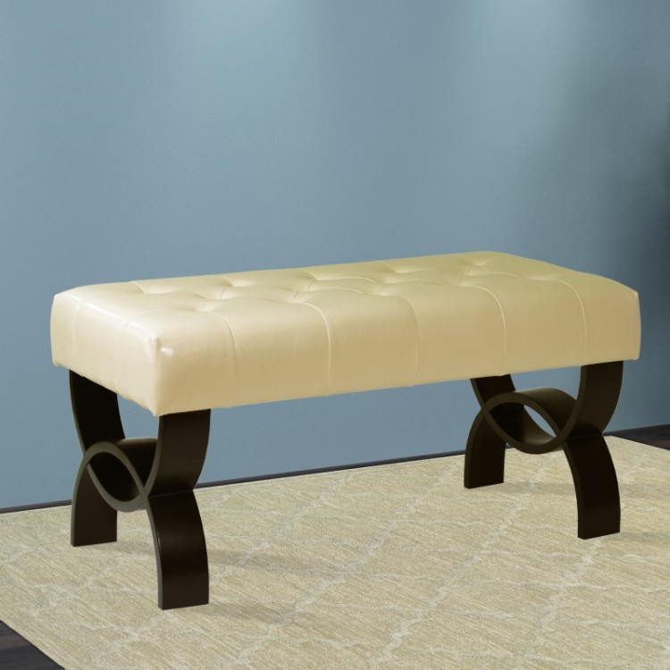 Prime Central Park 36 Tufted Cream Bonded Leather Ottoman Ncnpc Chair Design For Home Ncnpcorg
