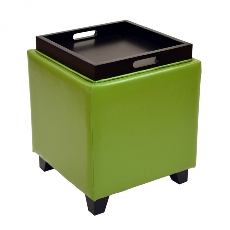 Enjoyable Rainbow Contemporary Storage Ottoman With Tray In Green Gmtry Best Dining Table And Chair Ideas Images Gmtryco