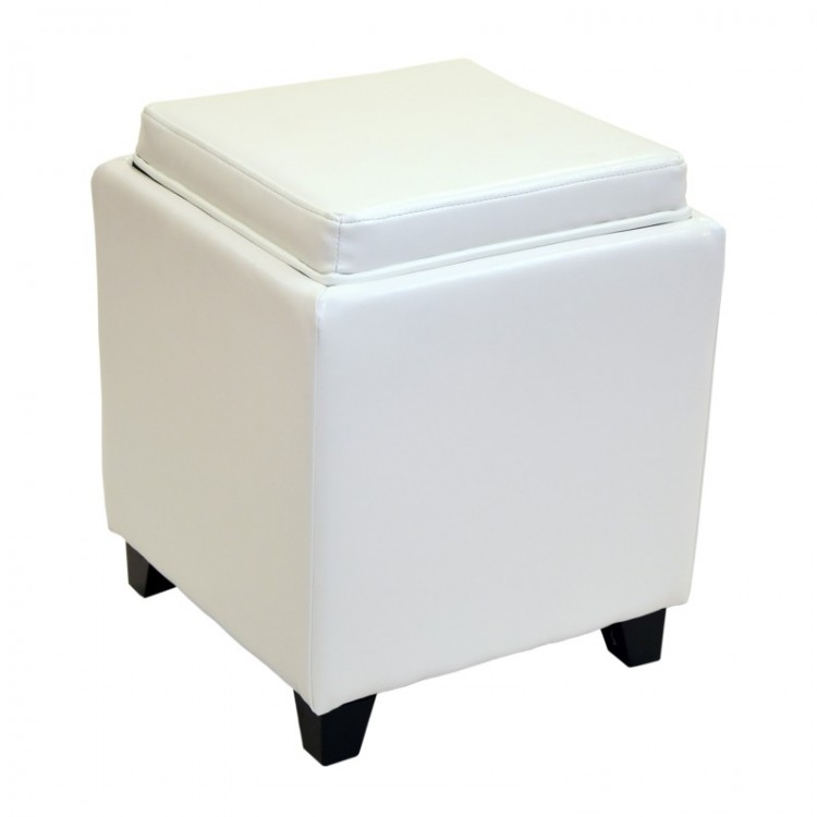 Outstanding Rainbow Contemporary Storage Ottoman With Tray In White Gmtry Best Dining Table And Chair Ideas Images Gmtryco