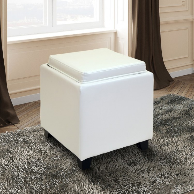 Pleasing Rainbow Contemporary Storage Ottoman With Tray In White Gmtry Best Dining Table And Chair Ideas Images Gmtryco