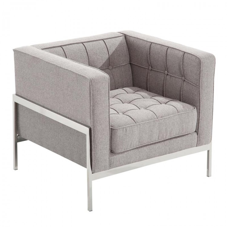 Andre Contemporary Chair In Gray Tweed and Stainless Steel ...