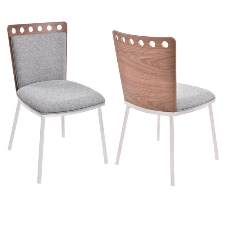 Brooke Dining Chair In Brushed Stainless Steel Finish With Gray Fabric Upholstery And Walnut Back Set Of 2 Boulevard Urban Living