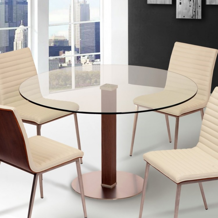 Cafe Brushed Stainless Steel Dining Table with Clear Glass ...