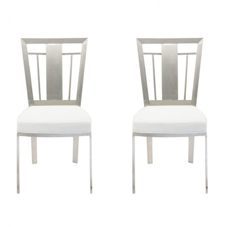 Cleo Contemporary Dining Chair In White And Stainless Steel Set Of