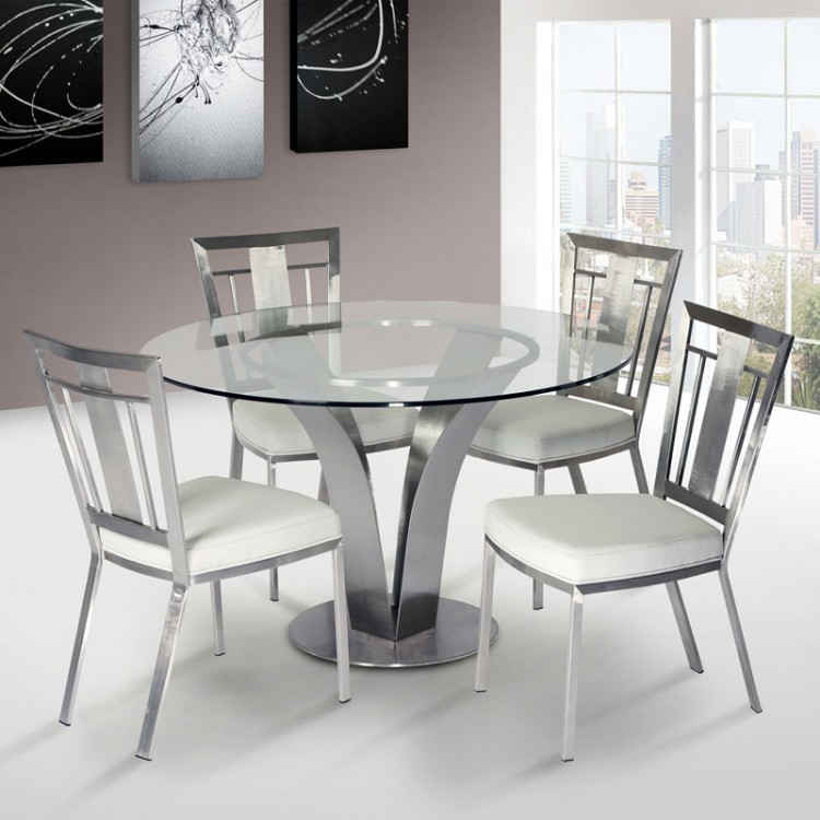 Cleo Contemporary Dining Chair In White and Stainless Steel - Set of ...