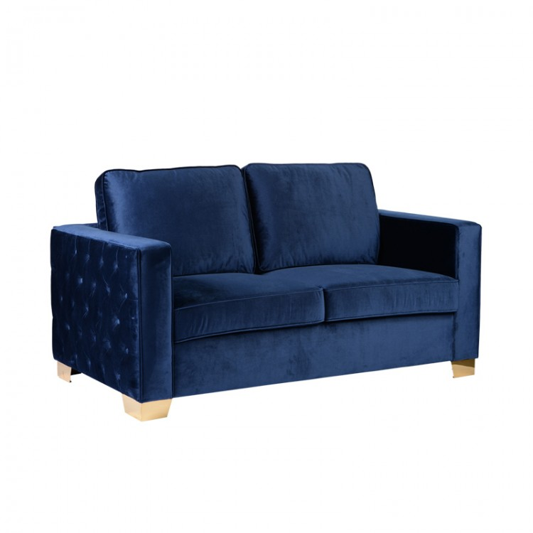 Tremendous Isola Loveseat In Blue Velvet With Gold Metal Legs Squirreltailoven Fun Painted Chair Ideas Images Squirreltailovenorg