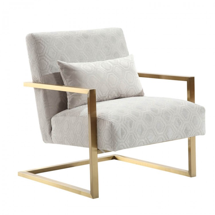 Skyline Modern Accent Chair In Cream Chenille and Gold Metal - Boulevard Urban Living  sc 1 st  Boulevard Urban Living : cheap modern accent chairs - Cheerinfomania.Com